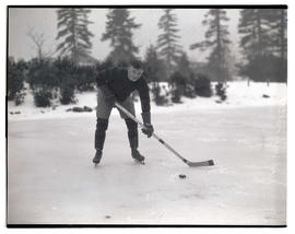 Semkowicz?, Portland Buckaroos hockey player, on frozen pond