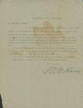 Letter from W.M.? Ramsey to Alice Palmer regarding her husband's estate