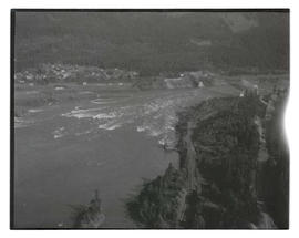Aerial view of Cascade Locks, Oregon; Columbia River; and Bridge of the Gods