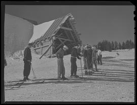 Skiers at Timberline Lodge