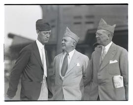 Edward A. Hayes?, Joseph K. Carson, and unidentified man at American Legion event