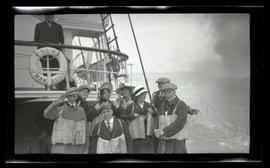 Unidentified group aboard lighthouse tender Manzanita