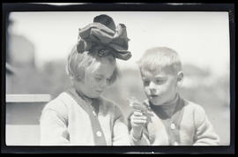 Phoebe Katherine Finley and William Finley Jr. with an English Sparrow