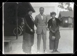 Photograph of unidentified woman, Douglas Fairbanks, and Maria C. Jackson