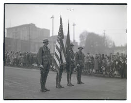 Military color guard in parade