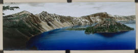 Hand colored photo of Crater Lake and Wizard Island