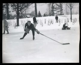 Johnson, Portland Buckaroos hockey player, on frozen pond
