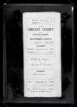 Photograph of Circuit Court judgment in State of Oregon vs. George B. Thomas