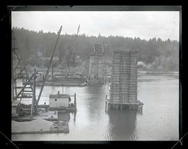 Bridge under construction, possibly Sellwood Bridge in Portland