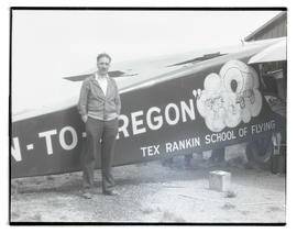 Unidentified man with Rankin brothers' airplane On-to-Oregon