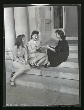 Marylhurst College students sitting on steps of administration building, 1943?