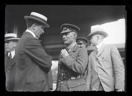 Brigadier General W. A. White, British army, speaking to unidentified man at Union Station, Portland