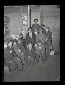 Cleanup crew at Christmas party, Albina Engine & Machine Works, Portland