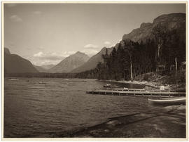 Lake McDonald Lodge boat docks and Lake McDonald, Glacier National Park