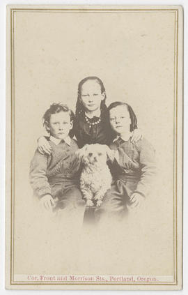 Joseph Buchtel portrait of three unidentified children and a dog