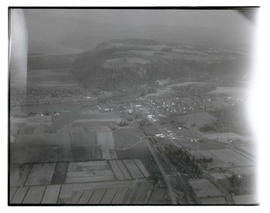 Aerial view of Troutdale, Oregon, and Sandy River