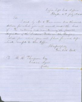 Letter from Joel Palmer to R.R. Thompson