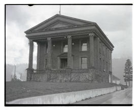Unidentified two-story building with columns