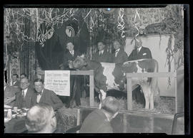 Earl Ross, Julius L. Meier, J. C. Penney, and John T. Dougall posing with bull at luncheon