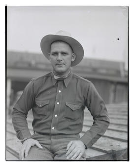 Jim Irwin, three-quarters portrait, probably at Pacific International Livestock Exposition