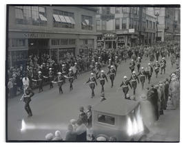 Military band marching in parade