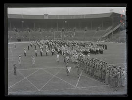 Civil defense organizations in formation at Multnomah Stadium, Portland