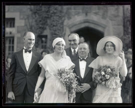 Members of wedding party? outdoors, half-length portrait