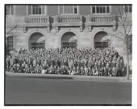 Large group of boys outside Multnomah County Central Library, Portland