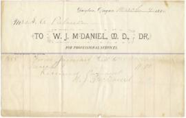 "Receipt from W.J. McDaniel M.D. for ""professional services from January 3 to March 9"""