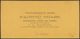 "Verso of, ""View on the Columbia River, from the O.R.R., Cascades."" (Stereograph 1281)"