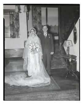 Unidentified bride and groom, full-length portrait