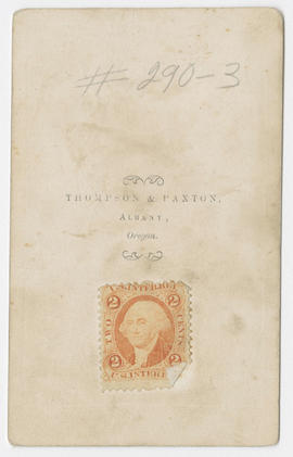 Unidentified portrait of a man and woman from Thompson and Paxton Studios (verso)