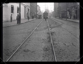 Trolley and tracks with Sellwood car