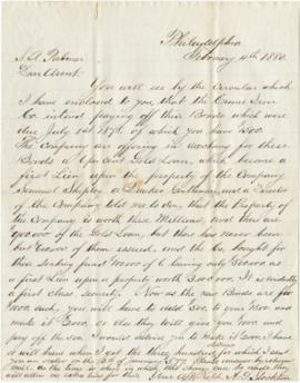 Letter to Sarah Ann Palmer from her nephew A.D. Stockton regarding financial matters relating to ...