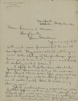 Letter to Emma Moore from F.G. Young