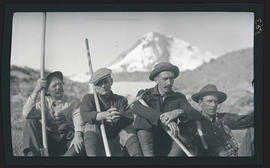 Dallas Lore Sharp and group climbing Mount Hood