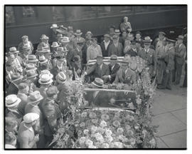 Franklin D. Roosevelt greeting crowd at Union Station during campaign visit to Portland
