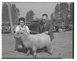 Unidentified boy and man with sheep at Pacific International Livestock Exposition