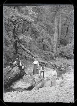 Five unidentified people in forest, posing next to stream