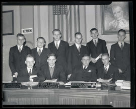 Portland Mayor Joseph K. Carson and group of unidentified young men in City Council chambers