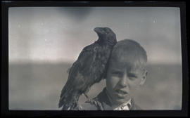 William Finley Jr. with a raven