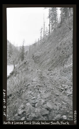 Oak grove project, earth and loose rock slide below south fork