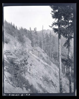 Oak Grove project, second rock point above upper dam after blasting