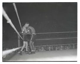 Boxers Barney Ross and Baby Joe Gans during match at Multnomah Stadium, Portland
