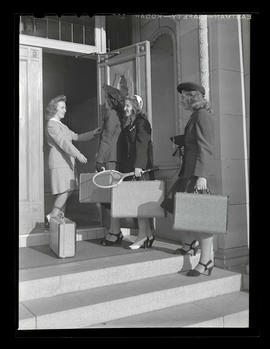 Four Marylhurst College students at administration building, opening day, 1943?