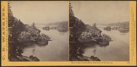 """View on the Columbia River from the O.R.R. Cascades."" (Stereograph 1294)"
