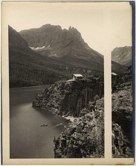 """Sun chalets"" and Chief Mountain, St. Mary's Lake, Glacier National Park"