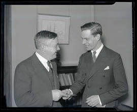 Portland Mayor Joseph K. Carson and unidentified man in mayor's office