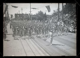 Girls marching in children's parade on opening day of 1917 Rose Festival