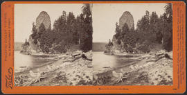 """Rooster Rock, Columbia River."" (Stereograph 1228)"